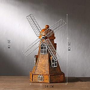 GEPIJPGEKH Creative Retro Home Decor Dutch Windmill Model Statue Saving Pot Winnower Sculpture Handmade Resin Crafts