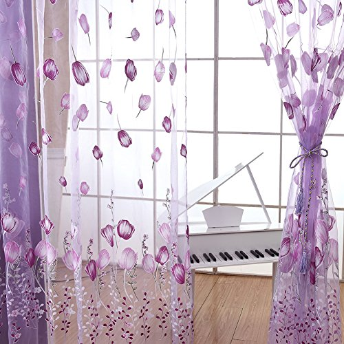 Fedi Vogue Willow Catkins Voile Window Curtain Sheer Panel Drapes Scarfs Room Curtain (A Purple)