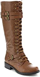 ed6d1848910 Wild Diva Timberly Women s Fashion Lace Up Buckle Knee High Combat Boots