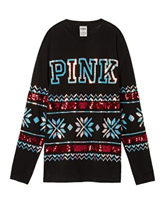 ca81d83e010be2 Victoria's Secret Women's PINK HOLIDAY BLING CAMPUS LONG SLEEVE TEE Medium  at Amazon Women's Clothing store: