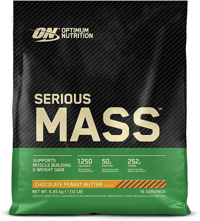 Optimum Nutrition Serious Mass Proteina en Polvo, Mass Gainer Alto en Proteína, con Vitaminas, Creatina y Glutamina, Chocolate Mantequilla de ...