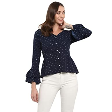 1bfeb8d4fab Spotstyl Blue Polka dots Casual Tops for Women Western Casual Latest Summer  2019 Women Tops Western Tops for Women Styish Fancy Women Apparel Clothing  ...