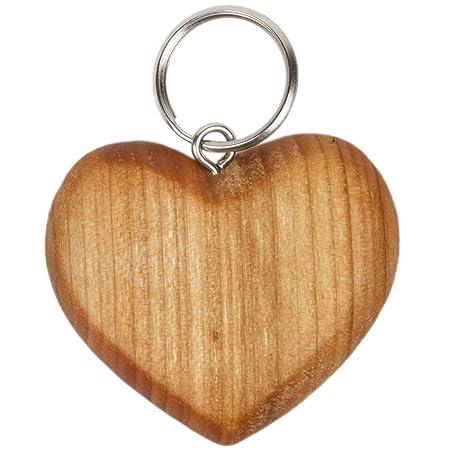 5 x 4 cm madera corazón llavero cereza Madera Colgante ...