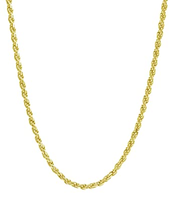 1ee767a92b332 18K Yellow Gold 1.5MM Diamond Cut Rope Chain Necklace - Made in Italy  -16