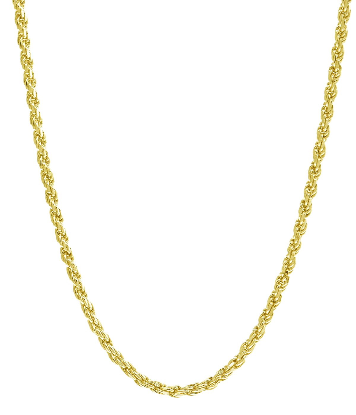 18K Yellow Gold 1.5MM Diamond Cut Rope Chain Necklace - Made in Italy -16''-24'' (20)