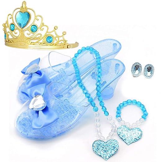 f3ba9a4c584b Amazon.com: Princess Accessory Dress Up Set,Shoes Necklace Earrings and  Tiara Set,Fashion Beauty Set for Girls (Blue): Clothing