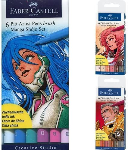 Faber-Castell 167130 - Pack 6 rotuladores Manga Pitt Shojo Set + ...