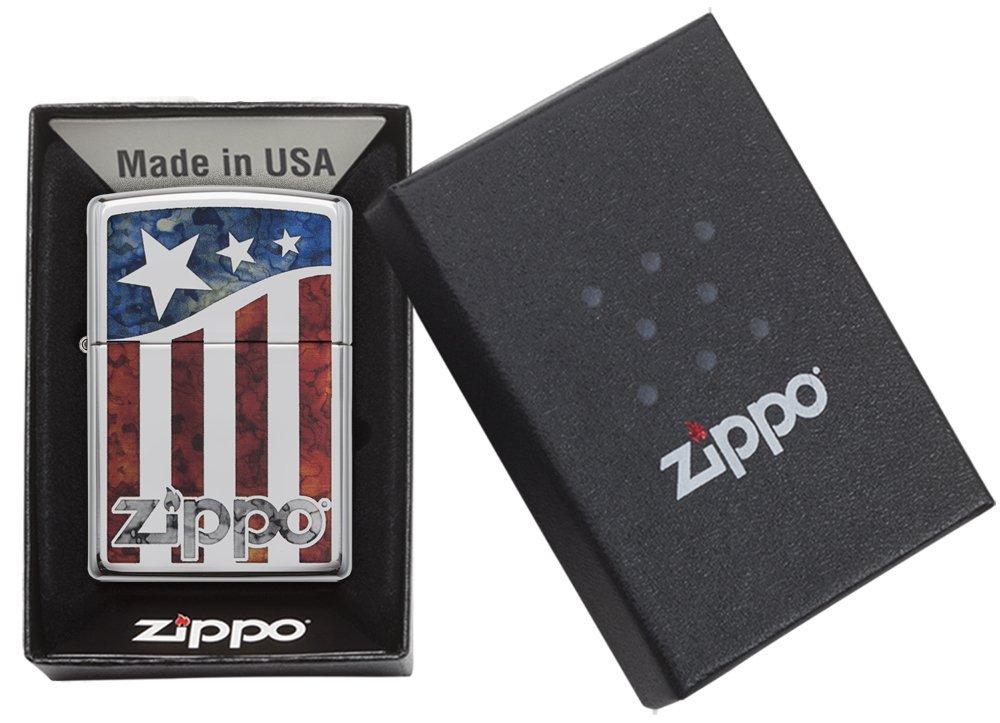 Zippo American Flag Pocket Lighter, High Polish Chrome by Zippo (Image #5)
