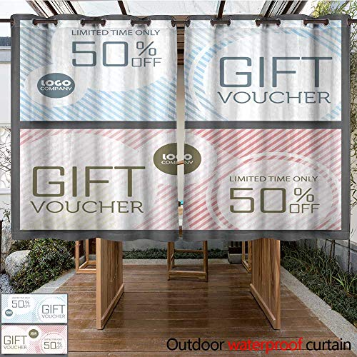 Outdoor Balcony Privacy Curtain Gift Voucher Certificate Coupon Template W96 x L72