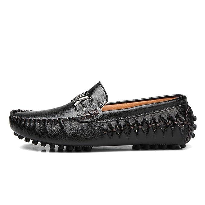 Bridfa Mocasines de hombre de cuero genuino Zapatos de conducción Slipon Zapatos de hombre de lujo azul Alpargatas: Amazon.es: Ropa y accesorios