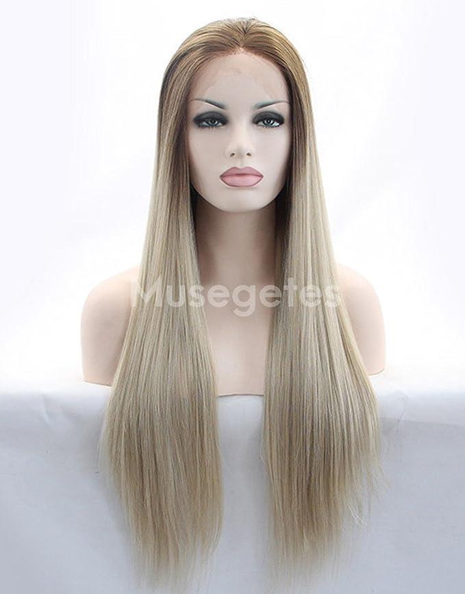 musegetes Ombre marrón peluca Lace Front sintético recto para las mujeres negras: Amazon.es: Belleza