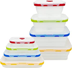CARTINTS Collapsible Food Storage Containers with Lids, Reusable Silicone Food Containers, Silicone Bento Lunch Box, for Freeze or Store, Food Grade, Leakproof, Space Saving, Set of 4