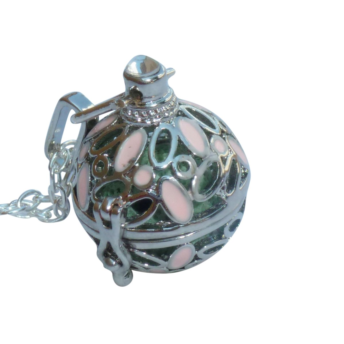UMBRELLALABORATORY YOur perSOnal STYlish Essential oil necklace Steampunk ball with pink flowers d2 0