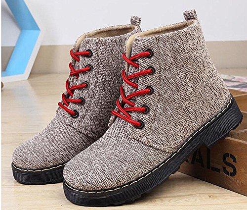 KUKI mujer de nieve tubo botas 9 beige gruesas platos Botas zapatos botas de botas tela de mh plantillas mujer rxArBwX