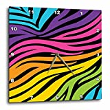 zebra print wall pics - 3dRose LLC dpp_113426_3 Wall Clock, 15 by 15-Inch, Modern Rainbow Zebra Stripes Animal Print Tween Girly Pattern