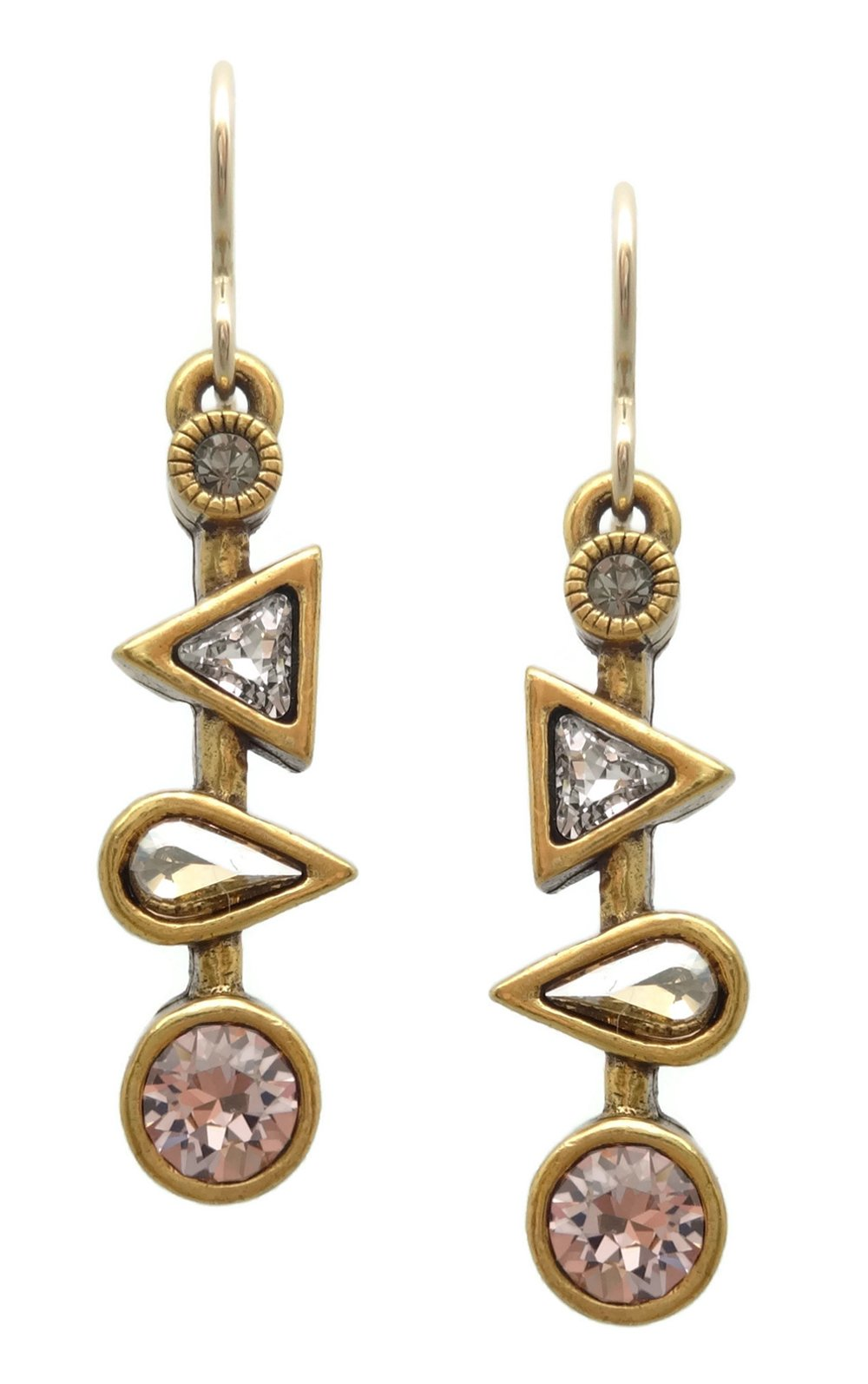 Patricia Locke Champagne Pink Grey Mix Ice Ice Baby Swarovski Crystal Goldtone Hook Earrings