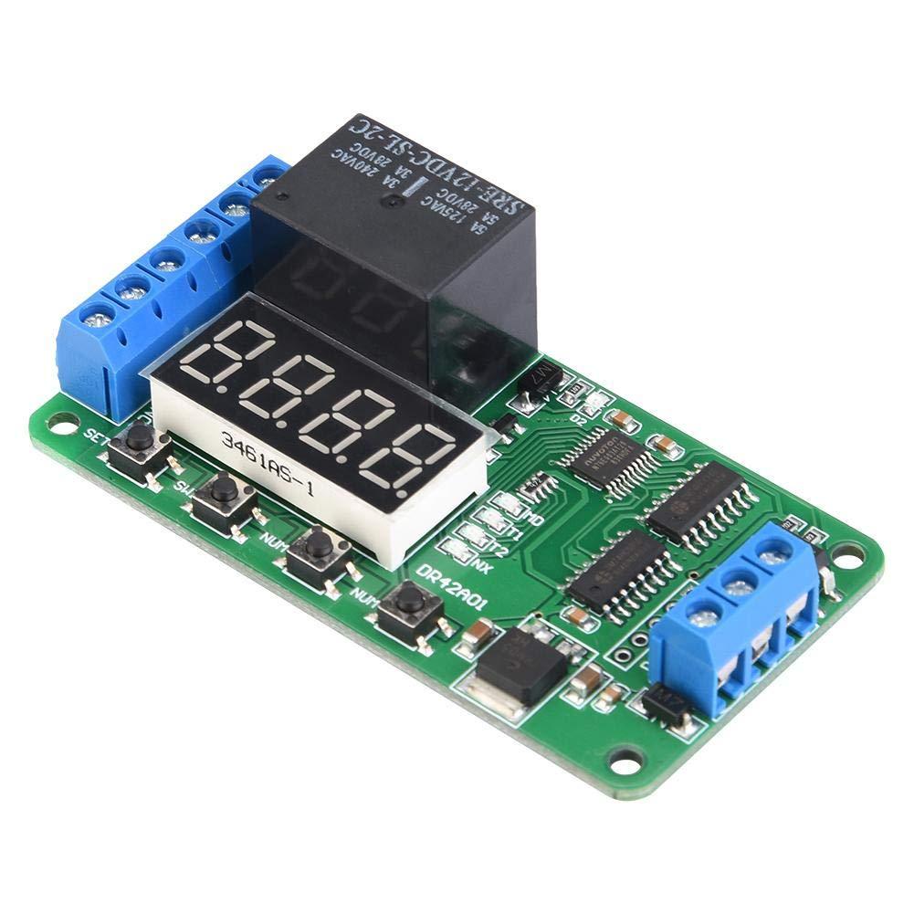 Relais temporis/é Relais de temps Minuterie de cycle 12V DR42A01 Double canal Relais de temporisation DPDT multifonctionnel Commutateur de contr/ôle du temps Affichage LED