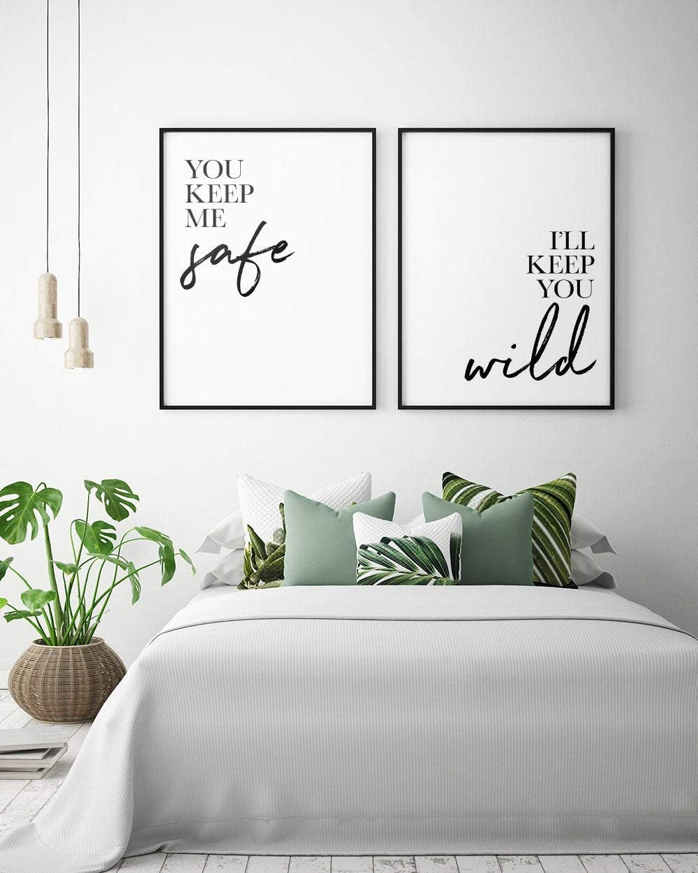Bedroom s: You Keep Me Safe I'll Keep You Wild (Set of 2) Couple Bedroom Print Bedroom Wall Art Bedroom Decor