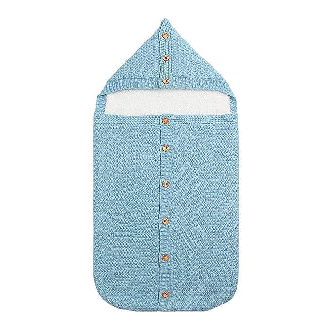 Silverone Saco De Dormir Engrosado para Bebé con Capucha Swaddle Tejida Manta Envoltura(Azul)