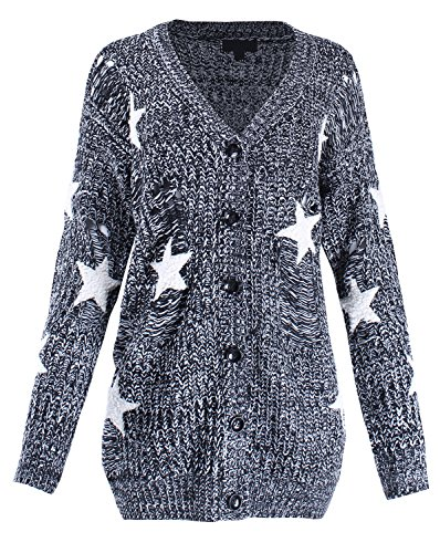 Twinkle Star Oversized Star Knit Button Closure Distressed Cardigan Black S/M Size ()