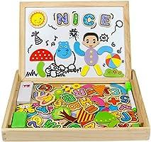 Tablero de Dibujo Magnético Lateral Doble de Madera Rompecabezas 90+ piezas para Niños de más de 3 Años