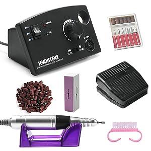 JEWHITENY Professional Nail Drill Machine 30,000RPM, Light Electric Acrylic Nail File Kits for Remove Nail Gel Polish, Manicure Machine Design for Home Salon Use, 110-240V(Black)
