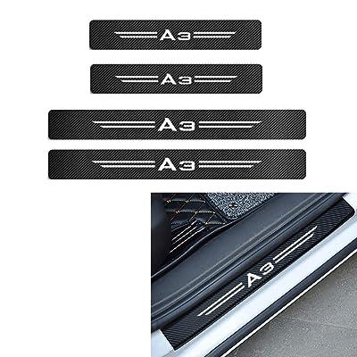 MAXDOOL 4Pcs Audi S line Door Sill Protector Reflective 4D Carbon Fiber Sticker Decoration Door Entry Guard Door Sill Scuff Plate Stickers for Audi A4 A3 Q5 Q3 S3 S4 S line Quattro RS7 (A3-White): Automotive