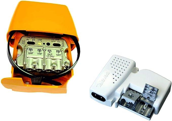 TECNOVOZ Kit Amplificador DE MASTIL 24dB + Mezcla SATELITE + ...