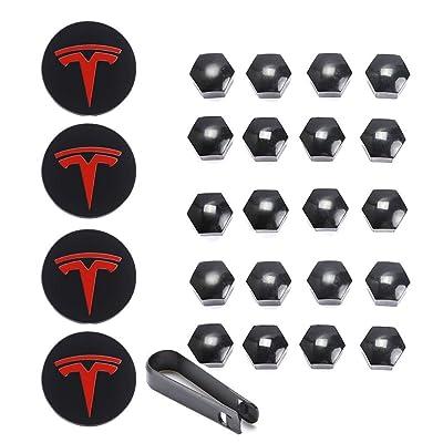 Tesla Model 3, S & X Aero Wheel Cap Kit White (4 Hub Center Cap + 20 Lug Nut Cover (Red): Automotive