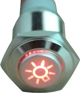 ESUPPORT 12V Car Red LED Headlihgt Symbol Push Button Metal Switch