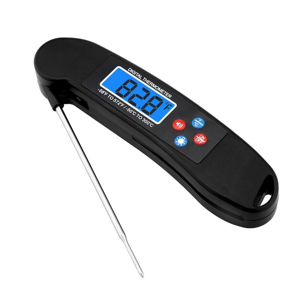 Digital LED Backlight Cooking thermometer Instant Read Food Thermometer With Foldable Stainless steel Probe and Temperature Broadcast Function For Meat Candy Milk BBQ (Black)