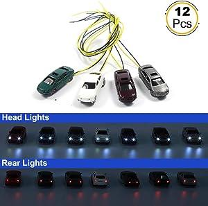 EC150 12pcs 1:150 N Scale Model Lighted Cars (Color Random) with 12V LEDs for Building Layout New