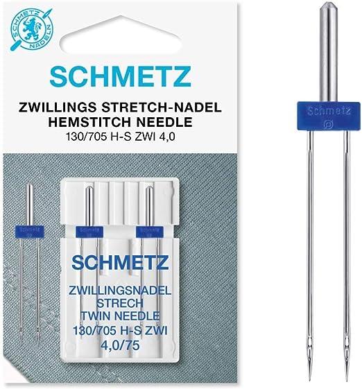 Schmetz Stretch Zwilling Aguja doble 130/705 4,0/75 plano pistón ...