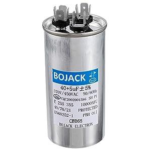 BOJACK 40+5uF 40/5MFD ±5% 370V/440V CBB65 Dual Run Circular Start Capacitor for AC Motor Run or Fan Start or Condenser Straight