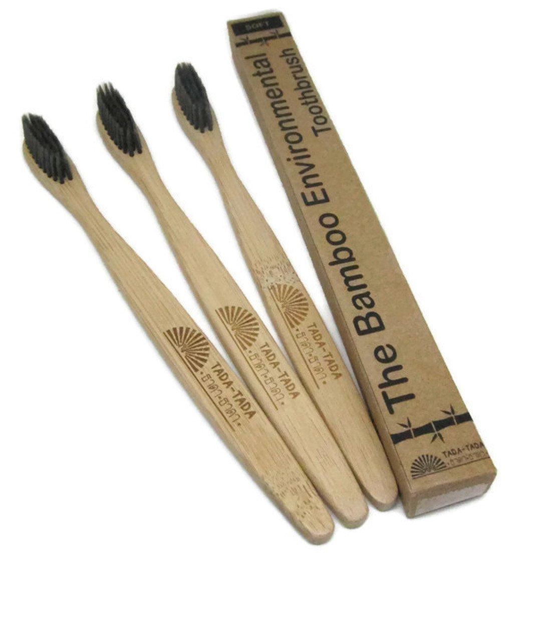 Bamboo Charcoal Extra Clean Toothbrush Natural 100% Soft Bristles by tada-tada 3Pcs.
