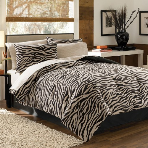 Bed Bath & Beyond 6-piece Black Beige Zebra Bed in a Bag Comforter and 100% Cotton Sheet Set Twin