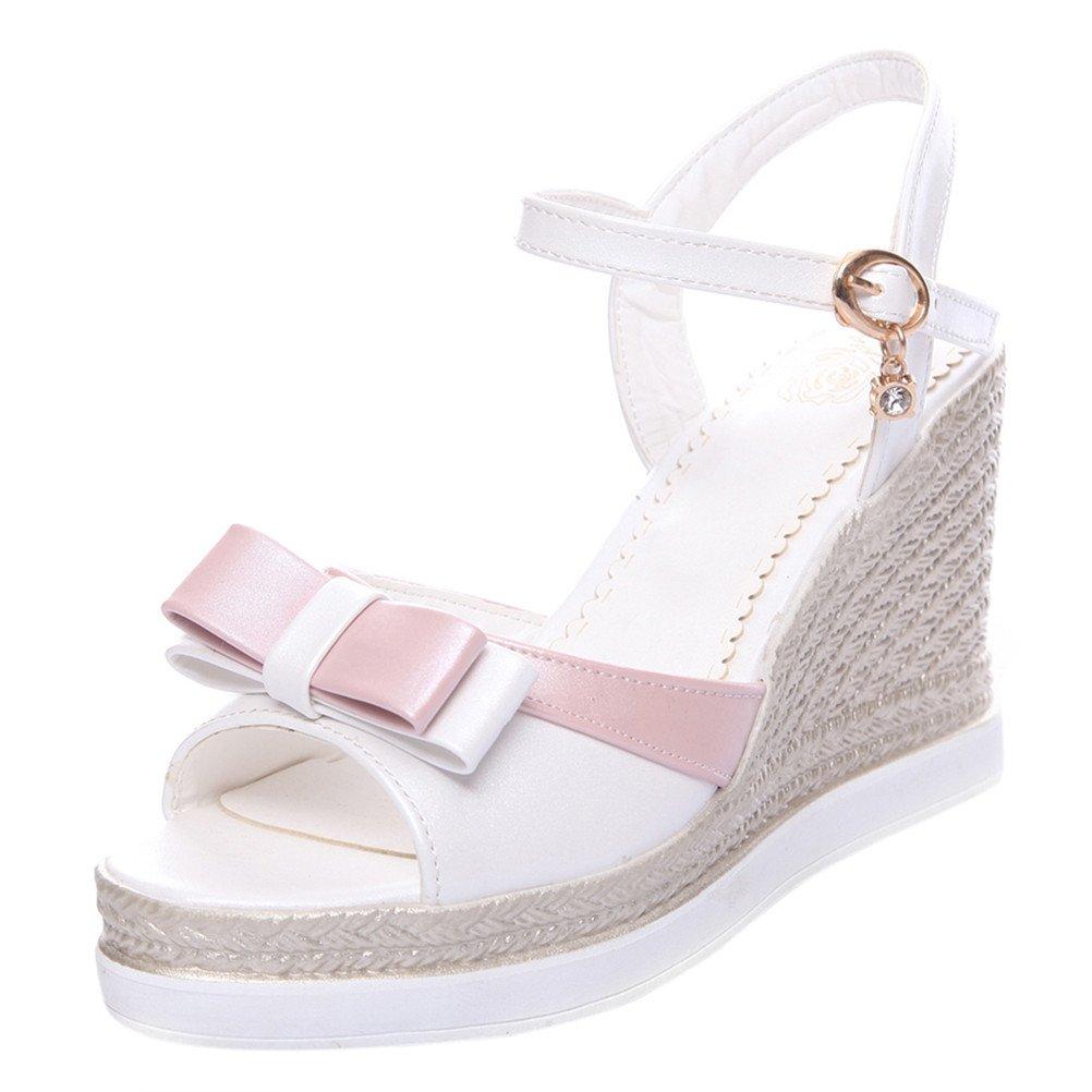 YE Wedges Sandaletten High Heels Plateau Sandalen mit Keilabsatz Peeptoe Schleife Damen Sommer Schuhe  38 EU|Wei?