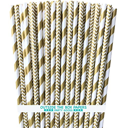 Gold and White Paper Straws - Stripe and Chevron - 7.75 Inches - 50 Pack - Outside the Box Papers -