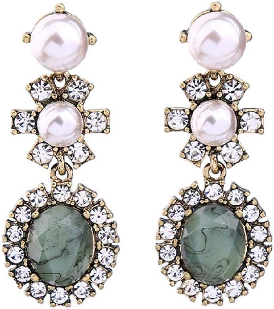 Pendientes de diamantes de mujer Jiushice, pendientes de flores de piedras preciosas de cristal perlado