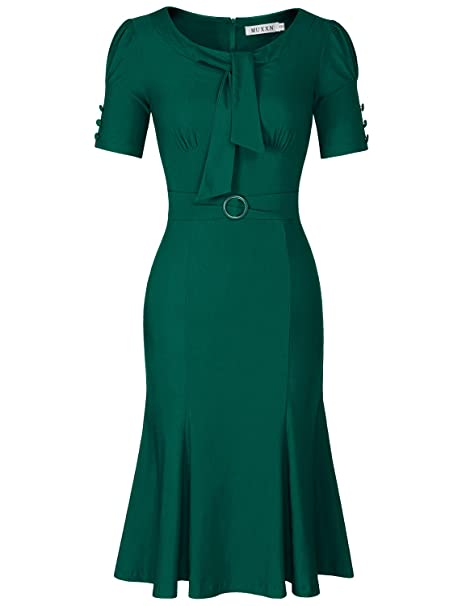 1940s Tea Dresses, Mature, Mrs. Long Sleeve Dresses MUXXN Womens Retro 1950s Style Short Sleeve Formal Mermaid $32.99 AT vintagedancer.com