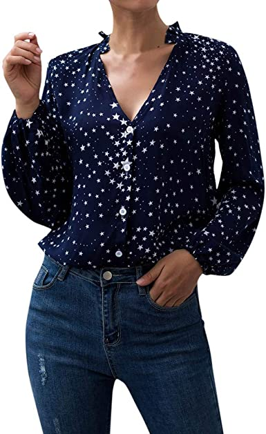 Lenfesh_camisa Blanca/Azul Marino para Mujer Casual Sexy con Cuello en V de Manga Larga Camisa con Estampado de Estrellas Formal para Mujer Blusa Superior Camisa: Amazon.es: Ropa y accesorios