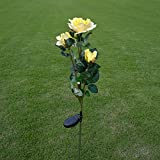 SYlive Solar Flower Lights , Solar Power Yellow Rose Flower Light Waterproof Lamp For Garden