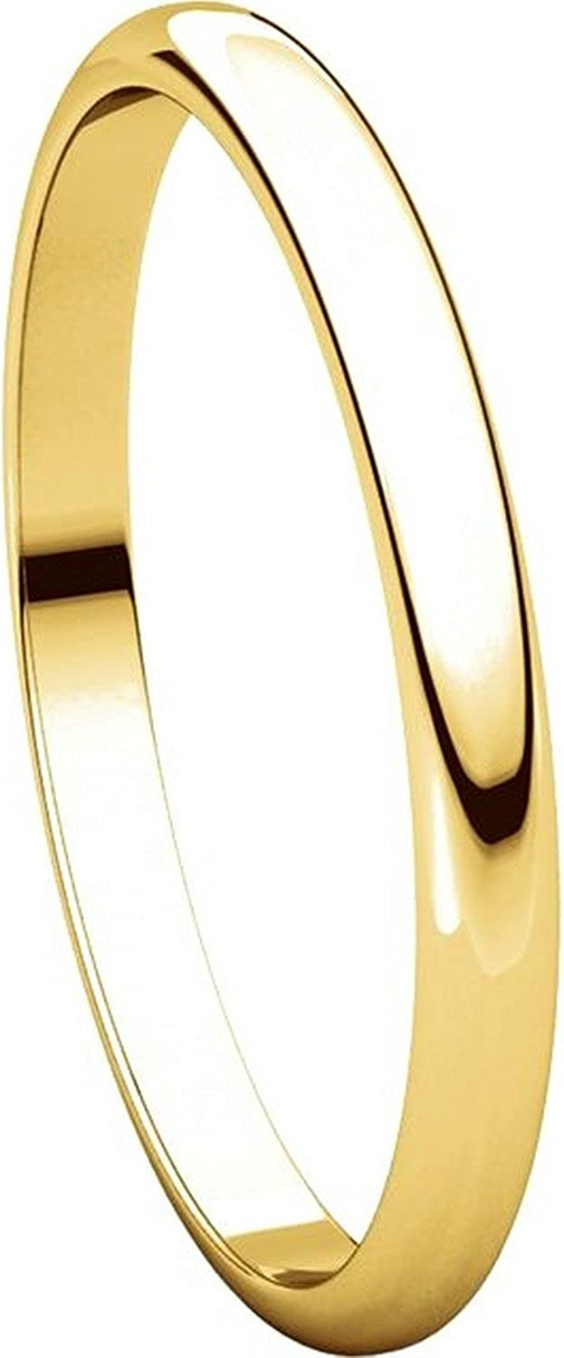 Plain Wedding Band Mens and Womens 18k Yellow Gold 2mm Wide