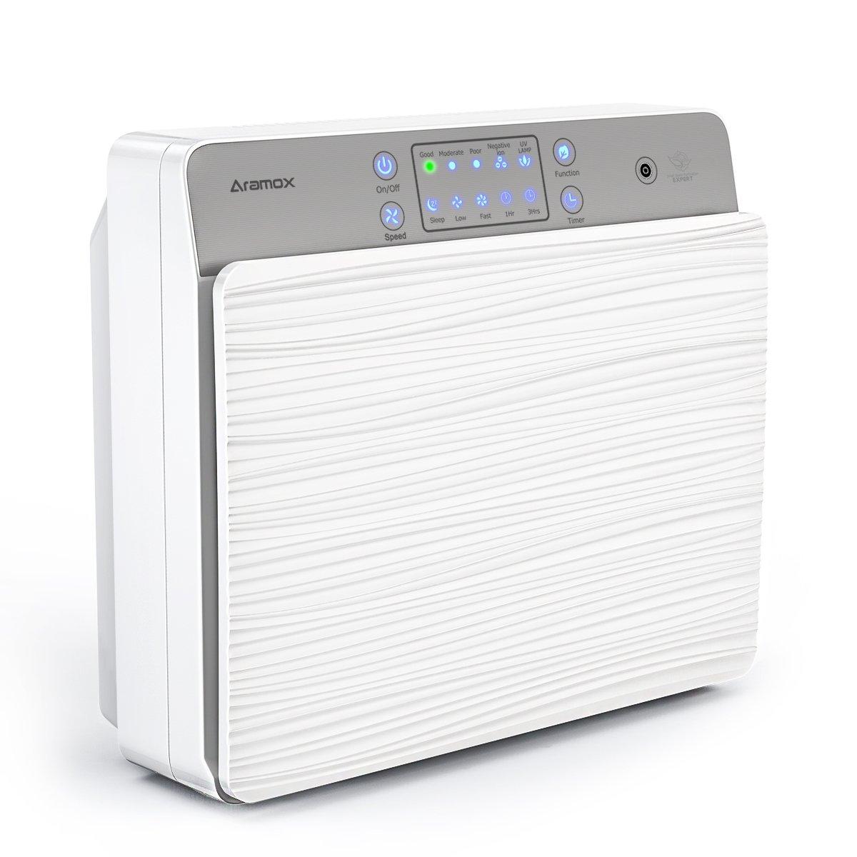 Luftreiniger,Luft-Ionisierer mit HEPA Ionen-Funktion Filter und UV sterilization Mit kabelloser Fernbedienung perfekt für Allergiker, Hausstaubmilben-Allergie,Raucher auch bei,Weiß xunooo-eu