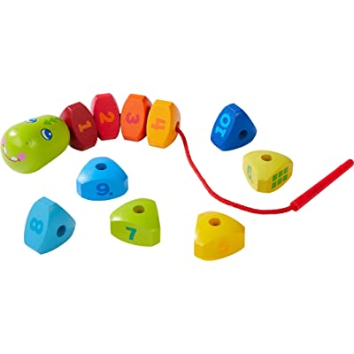 HABA Highlights Number Dragon - 11 Piece Wooden Threading Activity Develops Fine Motor Skills and Number Recognition - Ages 2+: Toys & Games