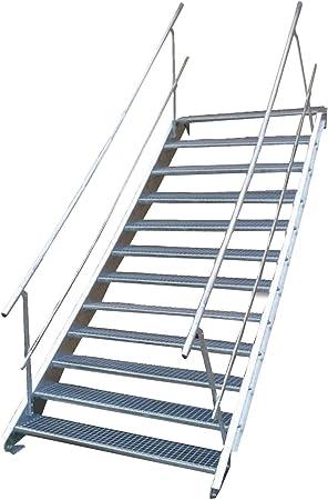 Escalera de acero industrial, escalera exterior, 12 peldaños, ancho de 100 cm, altura de planta variable 180-240 cm, galvanizada con barandilla a ambos lados: Amazon.es: Bricolaje y herramientas