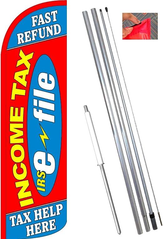 Impuesto sobre la renta rápido reembolso Viento Bandera de estandarte de la Pluma Kit (Bandera, Poste, y Tierra MT): Amazon.es: Jardín