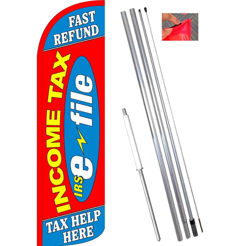 4 INCOME TAX SERVICE bl//wh 15 WINDLESS SWOOPER FLAGS KIT four