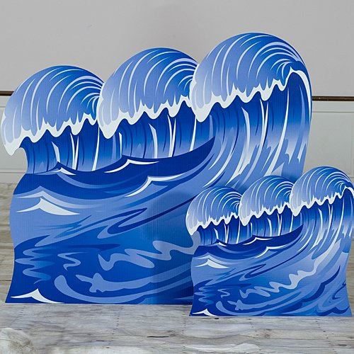 Shindigz Nautical Sailor Set Sail Wave Standees Standup Photo Booth Prop Background Backdrop Party Decoration Decor Scene Setter Cardboard Cutout