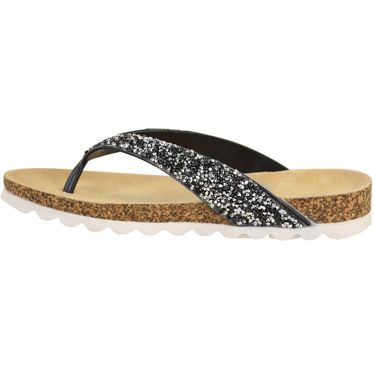 Damen Zehentrennersandalen - bequeme flache Sandalen mit gepolsterter Gel-Sohle - Schwarz Glitzer - EUR 39 LodalfStT1